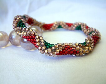 Christmas Bracelet, Holiday Diamonds, Bead Crochet Bangle in Red Green Copper, Winter Seed Beaded Rope