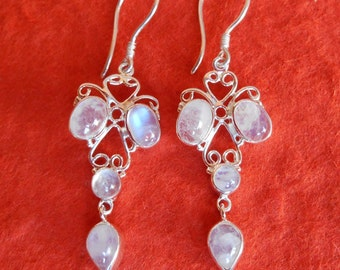Awesome Sterling Silver Moonstone Dangle Earrings / 2 inches long / Bali handmade jewelry / silver 925