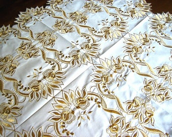 Tablecloth Vintage Embroidered Golf on White LINEN Embroidery Golden Leaves and Flowers