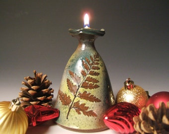 READY TO SHIP ceramic clay oil lamp with Fern and leaves in Green Leaf glaze