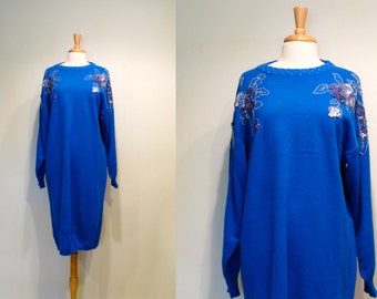 SALE Vintage 1980s Blue Embellished Slouchy Sweater Dress