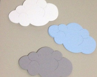 Clouds die cuts, hand punched out of card stock 24 total