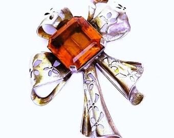 Reja Sterling Amber Glass Brooch