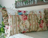 Roses, Gold, Beige and Tan and Vintage Buttons make Romantic Pillowfor Shabby Chic and Brocante Lovers!