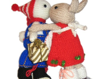 Two Christmas Bunnies Pdf Email Knit PATTERN
