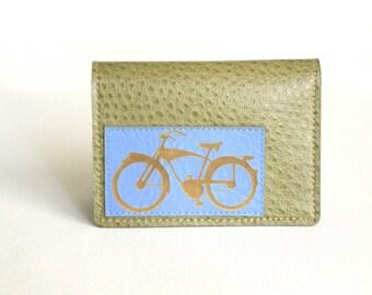 Bike Wallet / Bicycle Card Case - Periwinkle Blue on Sage Green Vegan Leather