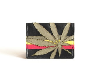 "Rasta Cannabis Wallet / Card Case : Sage Green Marijuana Leaf Silhouette on Black Vegan Leather - ""Soul Rebel"""