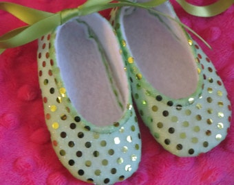 Sweet Vivienne Lime Green Sparkle Baby Shoes - Ballet Style With Lime Green Ankle Ties For Infants And Toddlers
