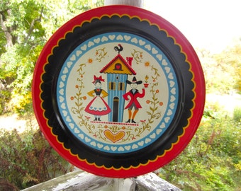 "Vintage Mid Century Kitsch Colorful Pennsylvania Dutch Couple Large 19"" Metal Tray Maxey"