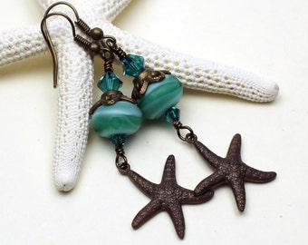 Lampwork Glass Bead Earrings  Antique Brass Starfish Beaded Jewelry  'Aqualina' SRAJD