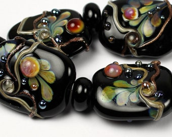 SRA Black Lampwork Glass Bead Set Organic Iridescent  Hot Pink Ivory Raku  'Secret Garden'