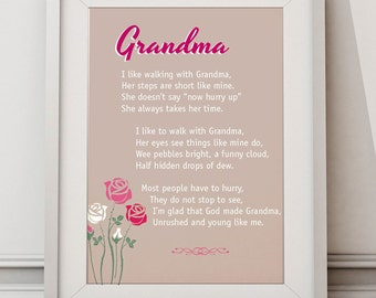 "Grandma poem rhyme words typography print art poster 8x10"""