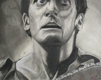 Ash Evil Dead. Print of original charcoal drawing