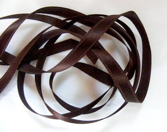 Vintage 1940's Satin Ribbon 1/4 inch -Milliners Stock- Gorgeous Sable Brown