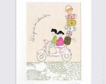 Let's Go - Personalised Mounted Embroidery - pink and green - 14x11