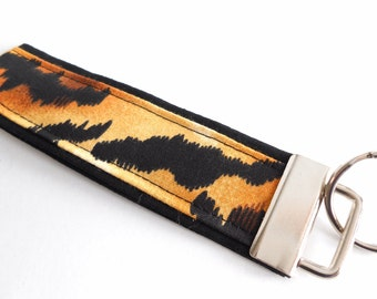 Black Tiger Stripes Wristlet Key Fob keychain ~ New Driver gift for the Guys, Husband Gift idea, Stocking Stuffer Small Gift, Teens 5 inch