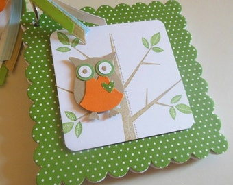 Owl advice book, owl memory book, owl journal, owl brag book, baby shower advice book, bridal shower advice book