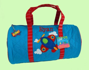 Child's Monogrammed Stephen Joseph New Style AIRPLANE Quilted Duffle Bag