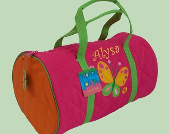 Stephen Joseph Child's Monogrammed  BUTTERFLY Quilted Duffle Bag