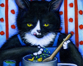 Tuxedo cat cooking with catnip print. Charlie's Secret Ingredient
