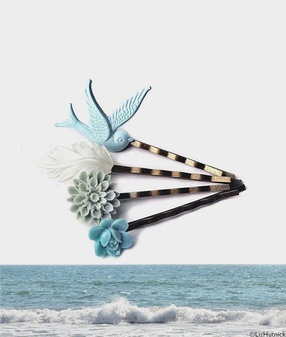 Ocean Beach Bobby Pins - Flower Feather and Bird Bobbies, Hair Accessories, Hair Slides, Hair Grips