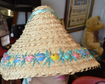 1940/50s Woven Straw Asian Style Hat