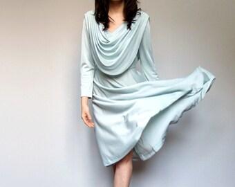 70s Pale Green Dress Long Sleeve Pastel Party Dress Drape Women - Small Medium S/ M