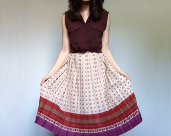 Vintage 70s Skirt Fall Summer Patterned Accordion Pleated Knee Length Skirt Simple Spring Fashion - Small S