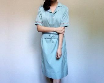 70s Dusty Mint Green Dress Knit Short Sleeve Preppy Casual Dress Fall - Large L