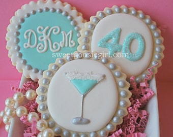 Tiffany Blue Martini, Age & Monogram Decorated Sugar Cookies