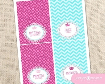 INSTANT DOWNLOAD:  Princess Printable Folding Labels - Print at Home