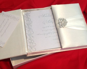 White on white Invitation box with 1 inserts with thermography invitation