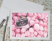 Paris Photo Notecard - Pink Roses at Market,  French Travel Greeting Card, Blank Card, Stationery, Note Card
