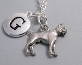 Boxer Dog Charm Necklace, Boxer Keychain, Engraved Initial, Personalized, Monogram Charm