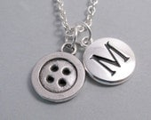 Button Charm Necklace, Button Keychain, Initial, Personalized, Monogram Charm