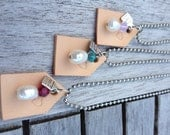 Ball chain necklace with leather house pendant and fresh water pearl and Swarovski bead -choose your color - free shipping
