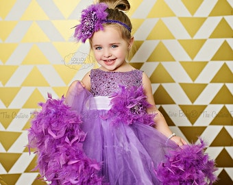 PURPLE PIZAZZ  Beautiful Couture Lavender Flower or Birthday Girl Feather Dress (CLOSEOUT)