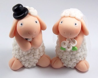 Sheep Wedding Cake Topper, Custom Wedding Cake Topper,  Personalized Cake Topper, Wedding Decoration, Handmade Cake Topper, Sheep Figurines