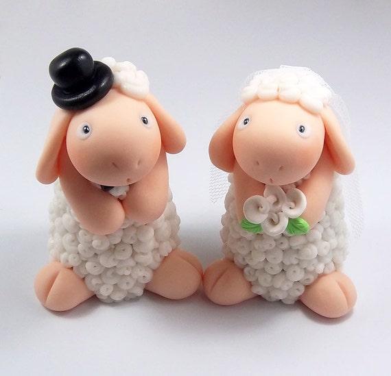 Sheep Wedding Cake Topper, Custom Wedding Cake Topper,  Personalized Cake Topper, Wedding Decoration, Handmade Cake Topper, Sheep Figurines