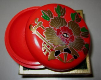 Vintage Pill Box in Red with Gold Flowers by Sarsaparilla ~ Style # 1 Red