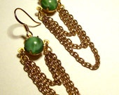 Green Moonstone and Draped Chains Dangle Earrings in Gold