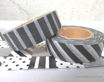 EXTRA LENGTH Striped Washi Tape - MT Deco Tape 15mm x15m -Black and white monochrome stripes 2 roll set