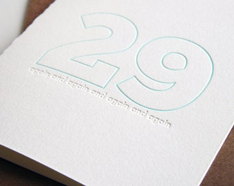 Letterpress Birthday Card - 29 again
