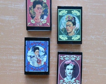 Frida MATCH BOX/ Shrines- Beautiful Prints 4 colorful designs Frida altered art Frida shrine art Frida matchbox shrine Frida matchbox art