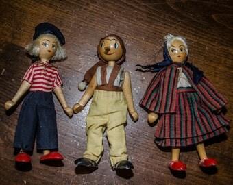 Lot of Three Vintage 1950s 1960s Polish Wood Peg Dolls