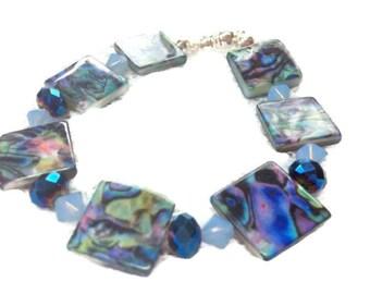 Abalone shell bracelet magnetic clasp beachy summer jewelry sparkly swarovski elements opalized  beads tropical island jewellery