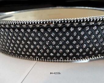 FREE SHIP Vintage Aurora Borealis Leather Belt (4-4255)
