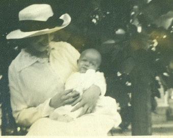 Young Edwardian Mother Holding New Baby Outside Happy Summer Antique Vintage Black and White Photo Photograph