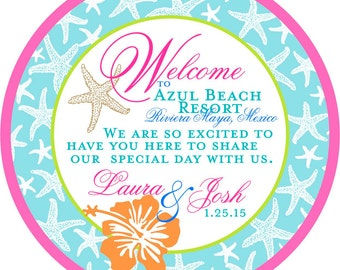 Beach Wedding Welcome Tags - Hawaiian Flower - Starfish - Customizable Bag Tags
