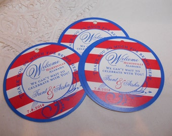 Wedding Hotel Gift tags 4 inch Round Welcome tags for Bat Mitzvah, Destination and Weddings